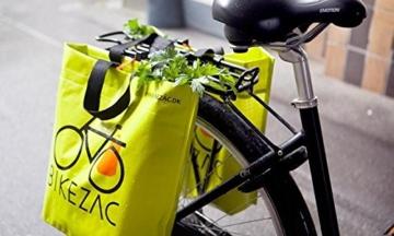 BIKEZAC® Clip-On EINKAUFS-FAHRRADTASCHE (Einseitige Einkaufstasche Faltbar Wasserabweisend Trageschlaufen), BikeZac:Blue -