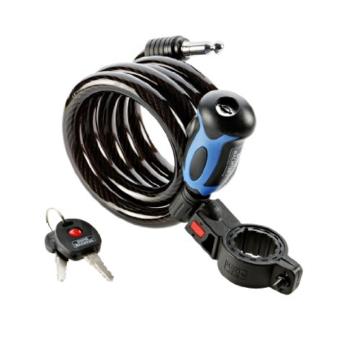 BURG-WÄCHTER Spiralseilschloss mit beleuchtetem Schlüssel, inkl. 2 Schlüssel, Mit Halterung für Fahrräder, Automatisch schließend, Länge: 150 cm, 1345 150 L -