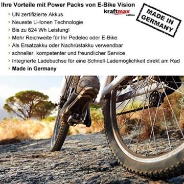E-Bike Vision Powerpack Akku für Bosch 36V Classic Antrieb - 13 AH / 468 WH - NEUESTE VERSION (für Haibike eQ / xduro / KTM / Kreidler / Merida / Scott / Panther / VSF uvm.) - Kraftmax Edition -