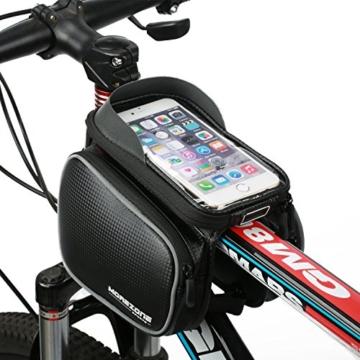 """Fahrradtasche Rahmentaschen, MOREZONE Frarradschnalletasche mit zwei Fäche, geeignet für Handy mit Größe unten 6,0"""", Farhradlenkertasche (Black) -"""