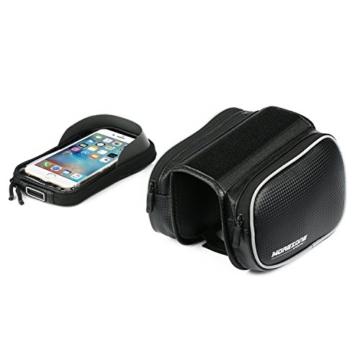 Fahrradtasche Rahmentaschen, MOREZONE Frarradschnalletasche mit zwei Fäche, geeignet für Handy mit Größe unten 6,0
