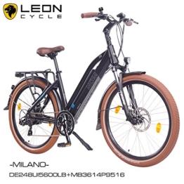 NCM Milano 26 Zoll Elektrofahrrad Herren/Damen Unisex Pedelec,E-Bike,Trekking Rad, 36V 250W 14Ah Lithium-Ionen-Akku mit PANASONIC Zellen, matt schwarz -