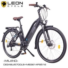 """NCM Milano 28"""" Zoll Elektrofahrrad Herren/Damen Unisex Pedelec,E-Bike,Trekking Rad, 36V 250W 14Ah Lithium-Ionen-Akku mit PANASONIC Zellen, matt schwarz -"""