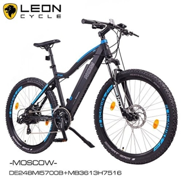 "NCM Moscow 29"" Zoll Elektrofahrrad Mountainbike,E-MTB E-Bike,Pedelec, 36V 250W Bafang Motor, 36V 13Ah designer Rahmen Akku,matt schwarz,hell blau -"