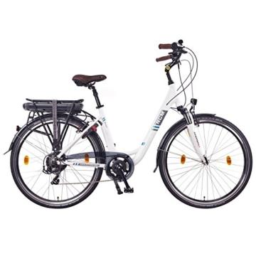 NCM Munich 28 Zoll Elektrofahrrad Herren/Damen Unisex Pedelec,E-Bike,City Rad, 36V 250W 14Ah Lithium-Ionen-Akku mit PANASONIC Zellen, weiß -