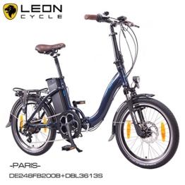 NCM PARIS 20 Zoll Elektrofahrrad E-Faltrad E-Bike ALU 36V 250W Li-Ion Akku mit 13Ah SAMSUNG Zellen in Dunkel Blau, Navy -