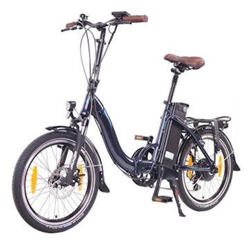 NCM Paris 20 Zoll Elektrofahrrad,E-Faltrad,E-Bike,Pedelec,Klapprad,36V 250W Bafang Motor, 36V Li-Ion Akku mit 14Ah PANASONIC Zellen,weiß,silber,dunkel blau,schwarz (Blau) -