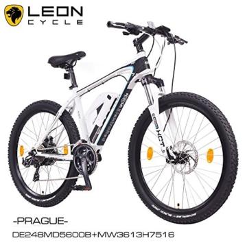 NCM Prague 26 Zoll Elektrofahrrad Mountainbike E-MTB E-Bike,Pedelec ALU 36V 250W Li-NCM Akku mit 13Ah,weiß,schwarz -