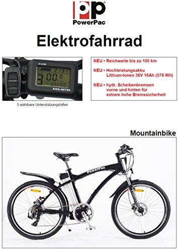 "POWERPAC - MOUNTAINBIKE 26"" PEDELEC ELEKTROFAHRRAD E-BIKE FAHRRAD - hydr. Scheibenbremsen + Akku Li-Ionen 36V 16AH (576 Wh) -"