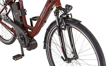 Prophete Damen Elektrofahrrad E-Bike Alu-City 26 Zoll E-Novation Navigator 6.6, dunkelrot matt, 46, 52466-0111 -