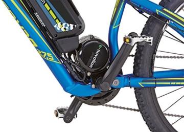 Prophete Herren Elektrofahrrad REX E-Bike Alu-Full Suspension MTB 650B 27.5 Zoll Bergsteiger 6.9, blau matt, 50, 51666-0111 -