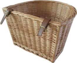 Retro Fahrradkorb aus Weidengeflecht, mit Lederriemen, handgefertigt -
