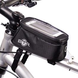 Wasserabweisende BTR-Fahrradrahmentasche & Handyhalterung. 2nd Generation. Groß mit Regenschutz -