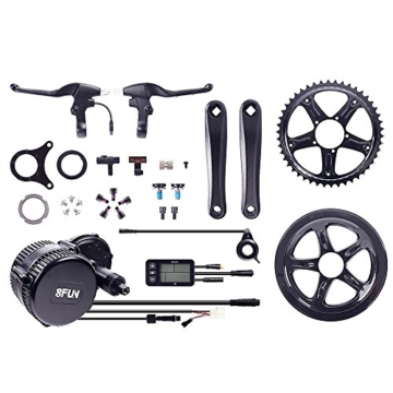 Bafang 8FUN,BBS-01 250 Watt Mittelmotor Umbausatz zum Elektrofahrrad,Pedelec,E-Bike mit 2 Bremshebel,C5 LED Display,Sensor,Zahnrad und Pedalarmen -