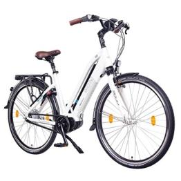 "NCM Milano MAX 28"" Zoll Elektrofahrrad Herren/Damen Unisex Pedelec,E-Bike,Trekking Rad, 36V 250W Li-Ion Akku mit 14Ah 504Wh PANASONIC Zellen, Bafang MAX Display & Mittelmotor in glänzend weiß -"